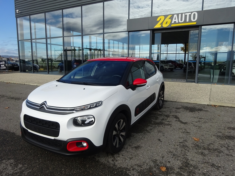 Citroen C3 1.2 PURETECH 110CH S&S SHINE EAT6 Essence BLANC/ROUGE Occasion à vendre